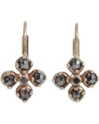 Anaconda Black Diamond White Gold Quadrifoglio Drop Earrings - Lyst