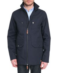 Knowledge Cotton Apparel Double Layer Navy Blue Parka - Lyst