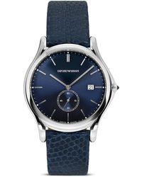 Emporio Armani - Blue Lizard Strap Watch, 40mm - Lyst