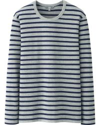 Uniqlo Men Washed Striped Crew Neck Long Sleeve Tshirt - Lyst