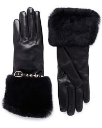 Valentino Rockstud Rabbit Fur Leather Gloves - Lyst