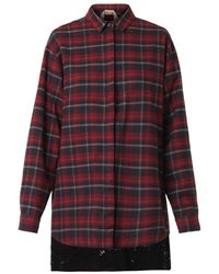 No 21 Checked Flannel Shirtdress - Lyst