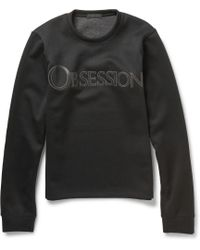 Calvin Klein Obsession Leather-appliquãd Tech-jersey Sweatshirt - Lyst