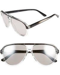 Gucci 59Mm Aviator Sunglasses - Crystal/ Black - Lyst