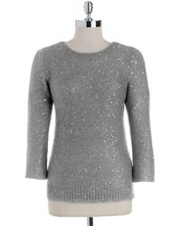 Anne Klein Plus Crewneck Sequined Sweater gray - Lyst