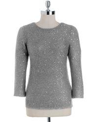 Anne Klein Plus Crewneck Sequined Sweater - Lyst