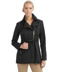 Vince Camuto Asymmetrical Zip Trench Coat - Lyst
