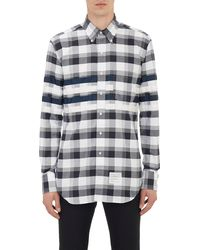 Thom Browne Grosgrain-trim Plaid Oxford Cloth Shirt - Lyst