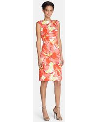 Tahari Floral Print Cotton Sheath Dress - Lyst