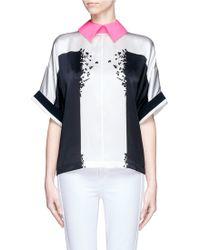 Preen By Thornton Bregazzi Contrast Collar Silhouette Print Silk Blouse - Lyst