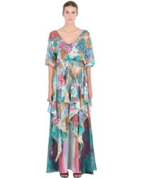 Larusmiani - Printed Silk Chiffon Dress - Lyst