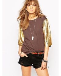 Native Rose | T-shirt With Sequin Sleeves | Lyst