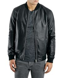 Shop Men's TOPMAN Leather Jackets from $65 | Lyst