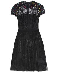 Valentino Feather And Bead-Embellished Dress - Lyst