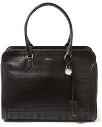Alexander McQueen - Large Black Padlock Laser-cut Leather Bag - Lyst