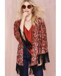 Nasty Gal Gisele Fringe Burnout Kimono - Lyst