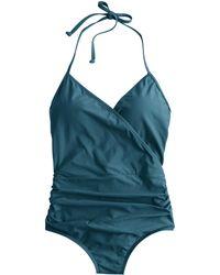 J.Crew Halter Wrap One-Piece Swimsuit blue - Lyst