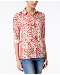 G.H.BASS - Floral-print Long-sleeve Shirt, Only At Macy's - Lyst