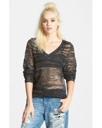 Leith Sheer V-Neck Sweater - Lyst