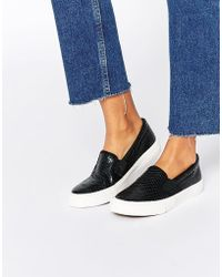 Missguided - Croc Effect Slip On Plimsol - Lyst