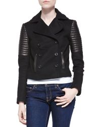 Rebecca Minkoff Sky Cropped Leatherfelt Jacket Black X-small - Lyst