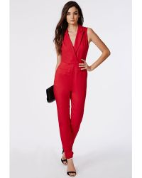 Missguided Sheer Back Tuxedo Style Jumpsuit Red - Lyst