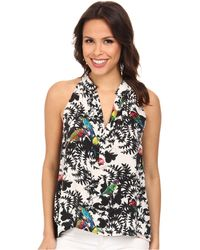 Nicole Miller Birds Of Paradise Button Front Top - Lyst
