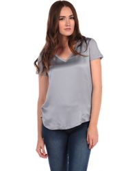 Majestic V-Neck Silk Detail Tee - Lyst