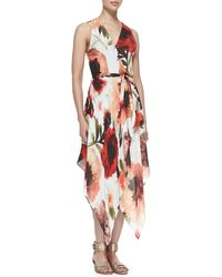 Haute Hippie Roseprint Asymmetric Wrap Dress - Lyst