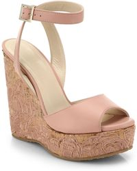 Jimmy Choo Patara Leather & Embroidered Cork Wedge Sandals - Lyst