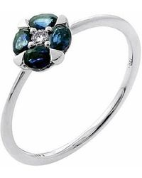 Tia Collections - Oval Blue Sapphires With 0.08ctw Diamond Ring - Lyst