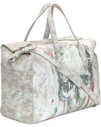 Alexander McQueen Suede Poster Skull Duffle Bag multicolor - Lyst