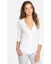 James Perse Women'S Button Front Jersey Shirt - Lyst