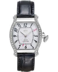 Juicy Couture Womens Dalton Black Leather Strap Watch 32mm - Lyst