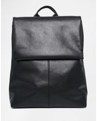 Monki | Clean Leather Look Fold Over Backpack | Lyst