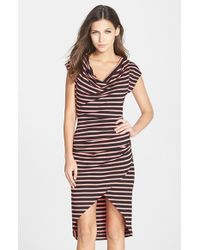Nicole Miller 'Jolly' Cowl Neck Stripe Faux Wrap Dress pink - Lyst