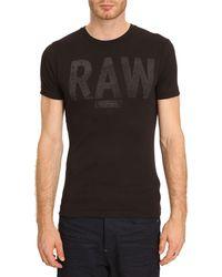 G-star Raw Terrams Mottled Black Logo Tshirt - Lyst