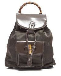 Gucci Pre-owned Brown Nylon Leather Bamboo Handle Backpack - Lyst