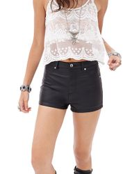 Forever 21 Faux Leather Shorts - Lyst