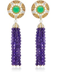 Abellan New York - One Of A Kind Art Deco-Inspired Silhouette Diamond, Chrysoprase, Chrysoprase And Amethyst Tassel Earrings - Lyst