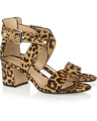 Gianvito Rossi Leopard-Print Calf Hair Sandals - Lyst