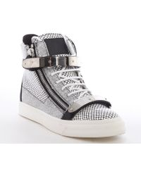 Giuseppe Zanotti Black and White Leather Snake Printed Metal Strap High Top Sneakers - Lyst