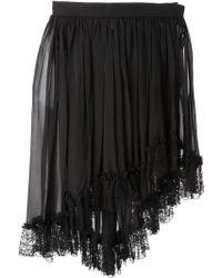 Yves Saint Laurent Vintage Asymmetric Chiffon Skirt black - Lyst