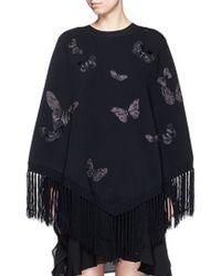 Valentino | 'camubutterfly' Embroidery Fringe Hem Poncho | Lyst