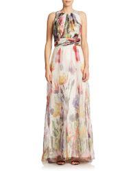 Badgley Mischka Floral-Print Silk Organza Gown pink - Lyst