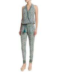 Talitha - Sleeveless Floral-print Silk Surplice Jumpsuit - Lyst