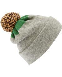 Jo Gordon Light Grey Top Spot Pom Pom Hat - Lyst