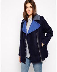 Twenty 8 Twelve Elphick Wool Mix Coat with Contrast Collar - Lyst
