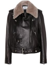 Acne Studios Mape Leather Jacket with Detachable Shearling Collar - Lyst
