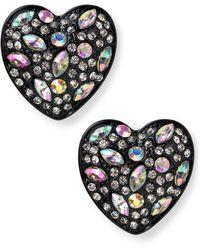 Material Girl - Blacktone Colorful Stone Heart Stud Earrings - Lyst